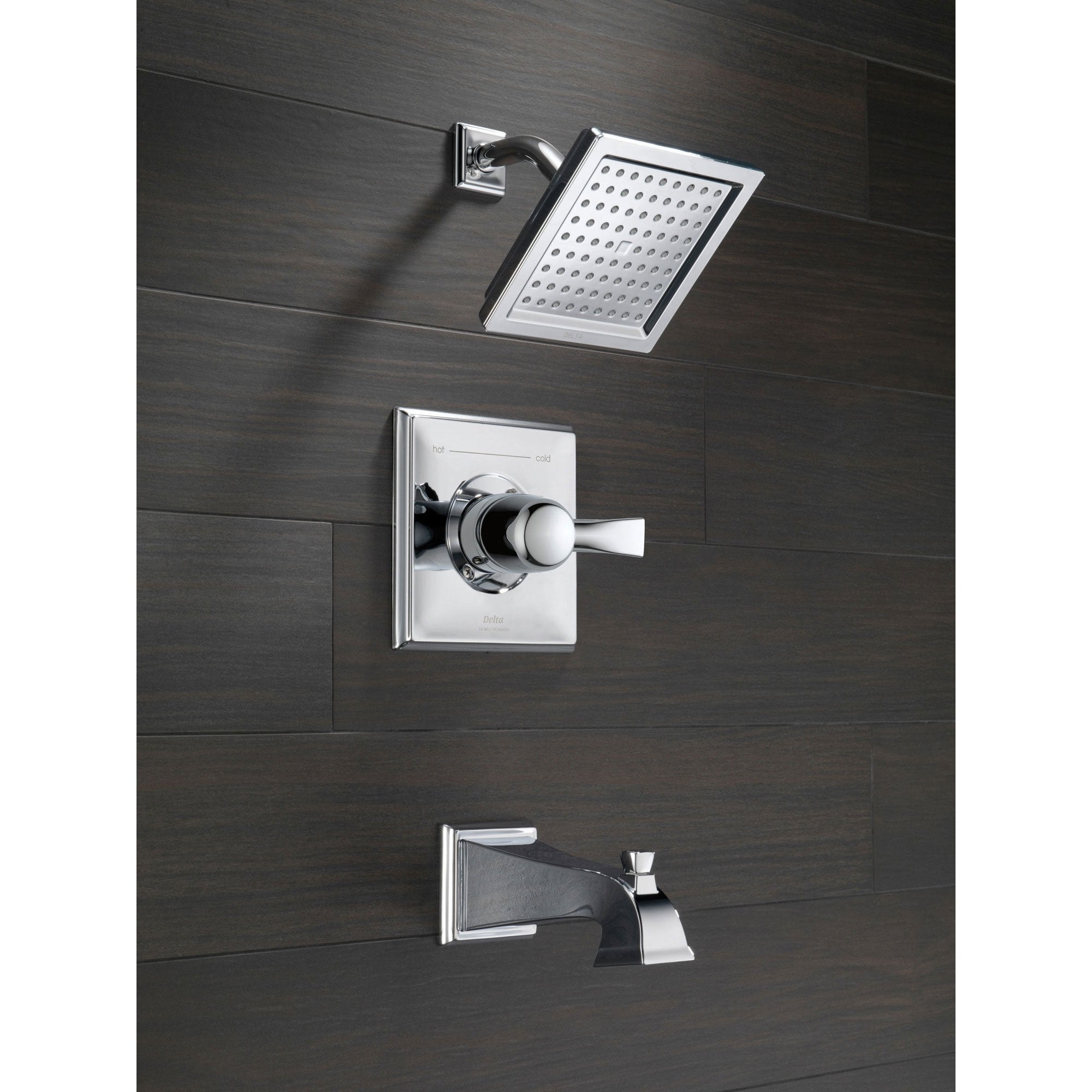 Delta Dryden Modern Square Chrome Tub And Shower Faucet