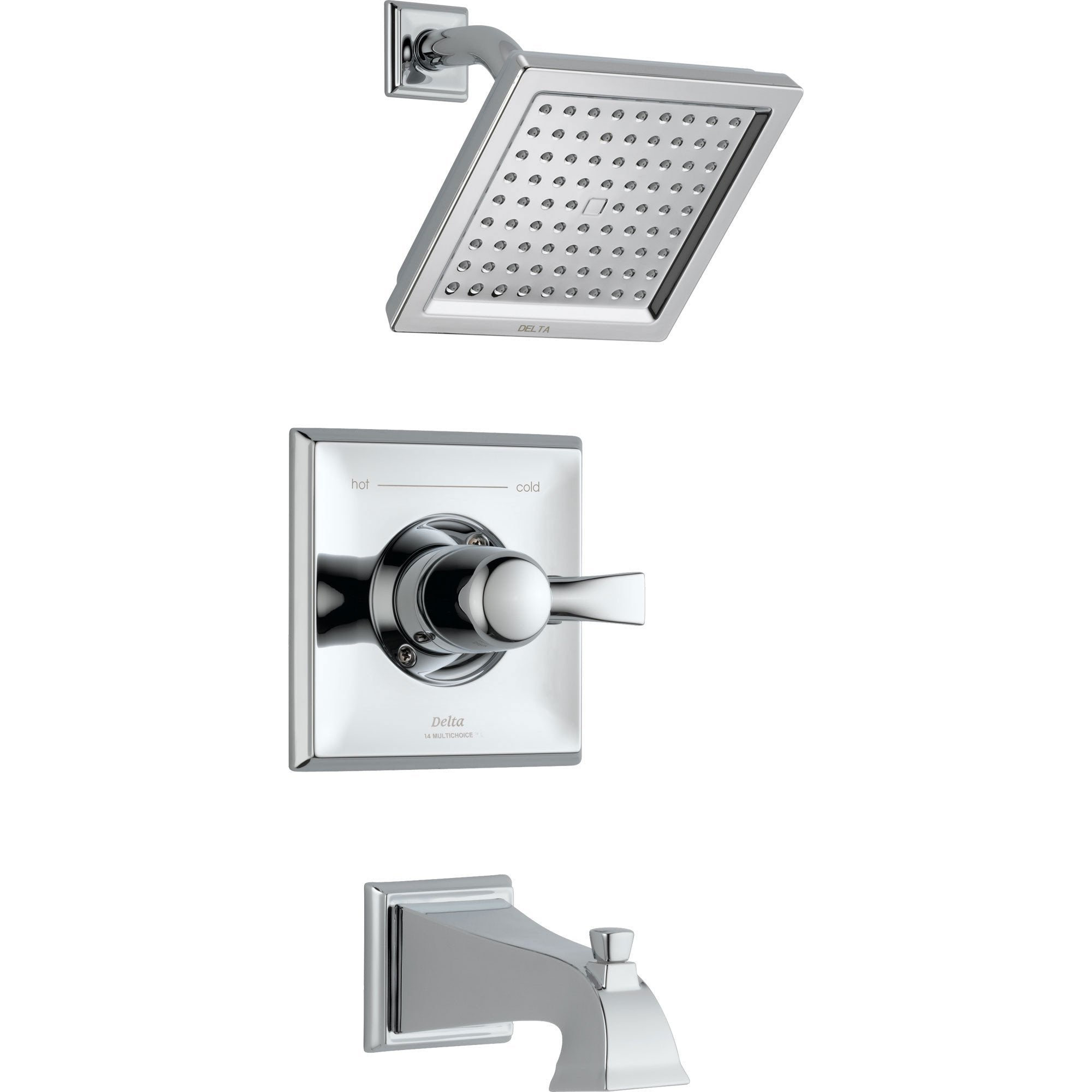 Delta Dryden Modern Square Chrome Tub and Shower Faucet Trim Kit 456077