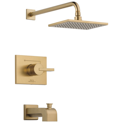 Delta Vero Champagne Bronze Finish Water Efficient Tub & Shower Combination Faucet Includes Monitor Cartridge, Handle, and Valve without Stops D3455V