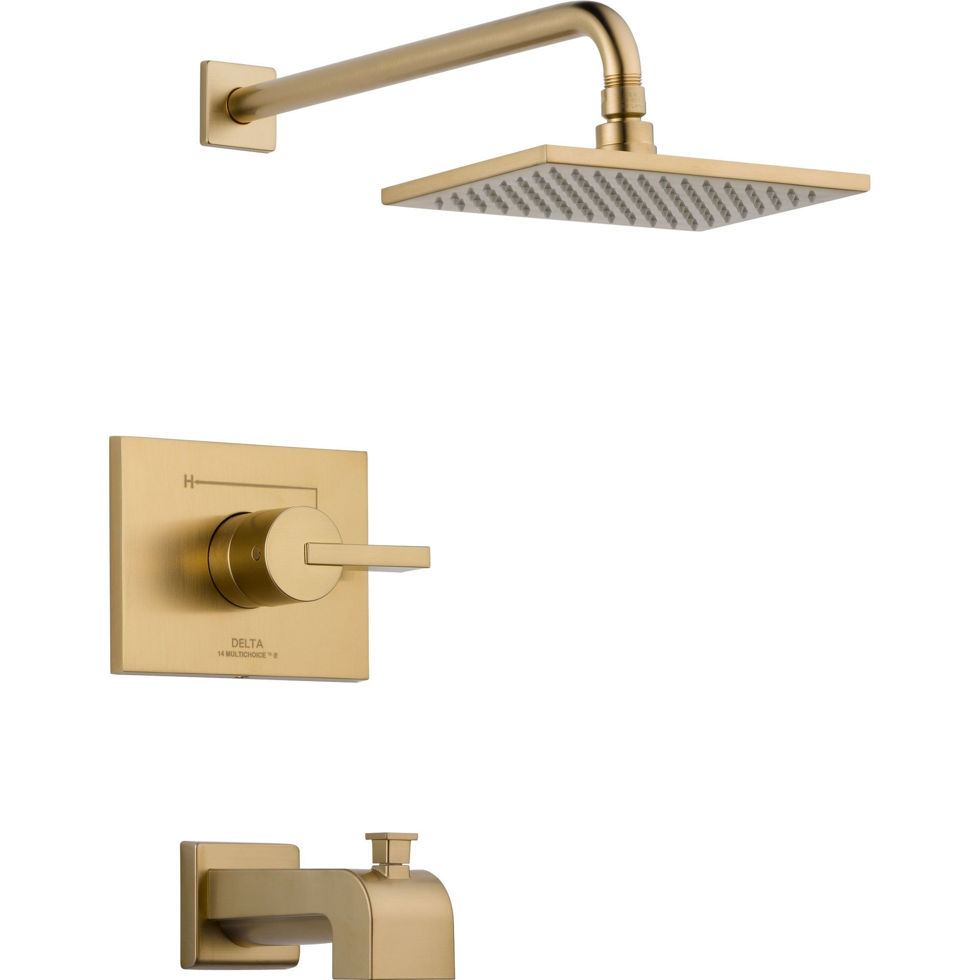 Delta Vero Modern Champagne Bronze Tub and Shower Combination Faucet Trim 555944