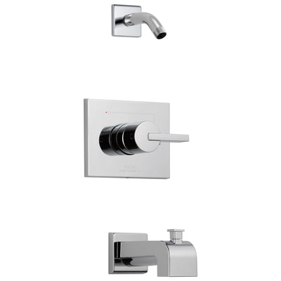 Delta Vero Collection Chrome Modern Rectangular Plate with Lever Handle Tub and Shower Combo Trim - Less Showerhead Includes Valve with Stops D2402V