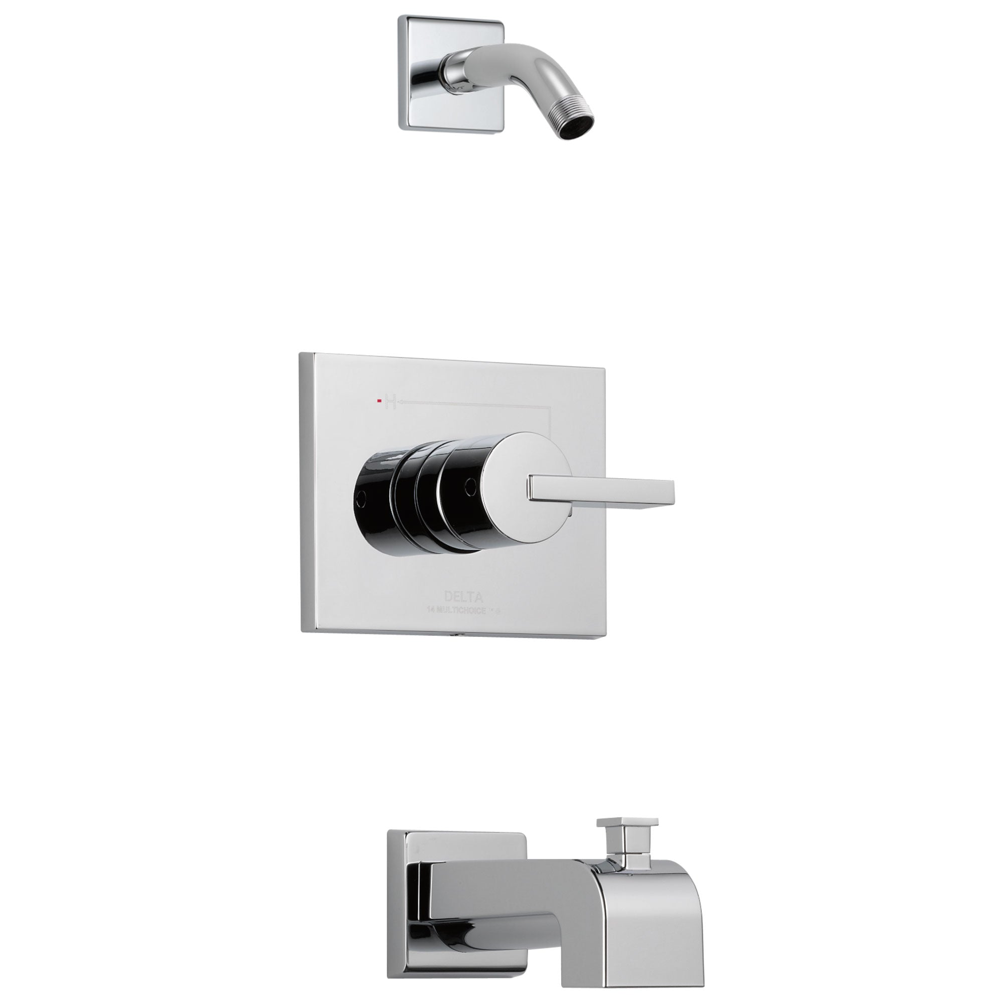 Delta Vero Collection Chrome Modern Rectangular Plate with Lever Handle Tub and Shower Combo Trim - Less Showerhead (Requires Valve) DT14453LHD