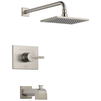 Delta Vero Stainless Steel Finish 14 Series Water Efficient Tub & Shower Combination Faucet Includes Cartridge, Handle, and Valve without Stops D3451V
