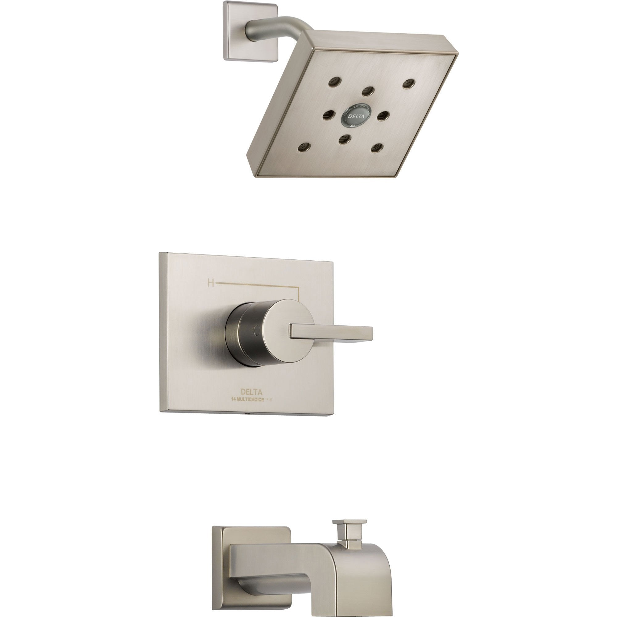 Delta Vero Stainless Steel Finish Tub and Shower Combination Faucet Trim 521946