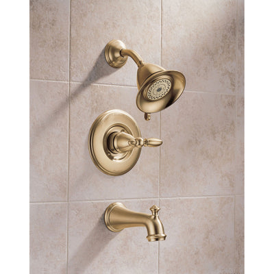 Delta Victorian Collection Champagne Bronze Monitor 14 Tub & Shower Combo Faucet INCLUDES Single Lever Handle and Rough-Valve without Stops D1522V