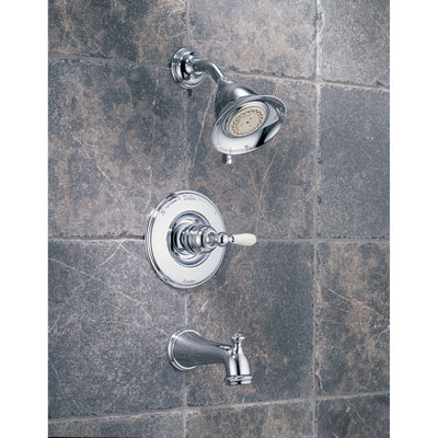 Delta Victorian Collection Chrome Finish Monitor 14 Series Tub & Shower Combo Faucet INCLUDES Single White Lever Handle and Rough-Valve without Stops D1514V