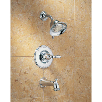 Delta Traditional Victorian Chrome Finish 14 Series Tub and Shower Faucet Combo INCLUDES Rough-in Valve and Single Lever Handle D1190V