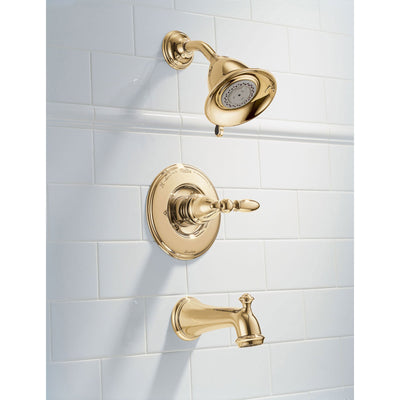 Delta Victorian Collection Polished Brass Finish Monitor 14 Tub & Shower Combo Faucet INCLUDES Single Lever Handle and Rough-Valve without Stops D1511V
