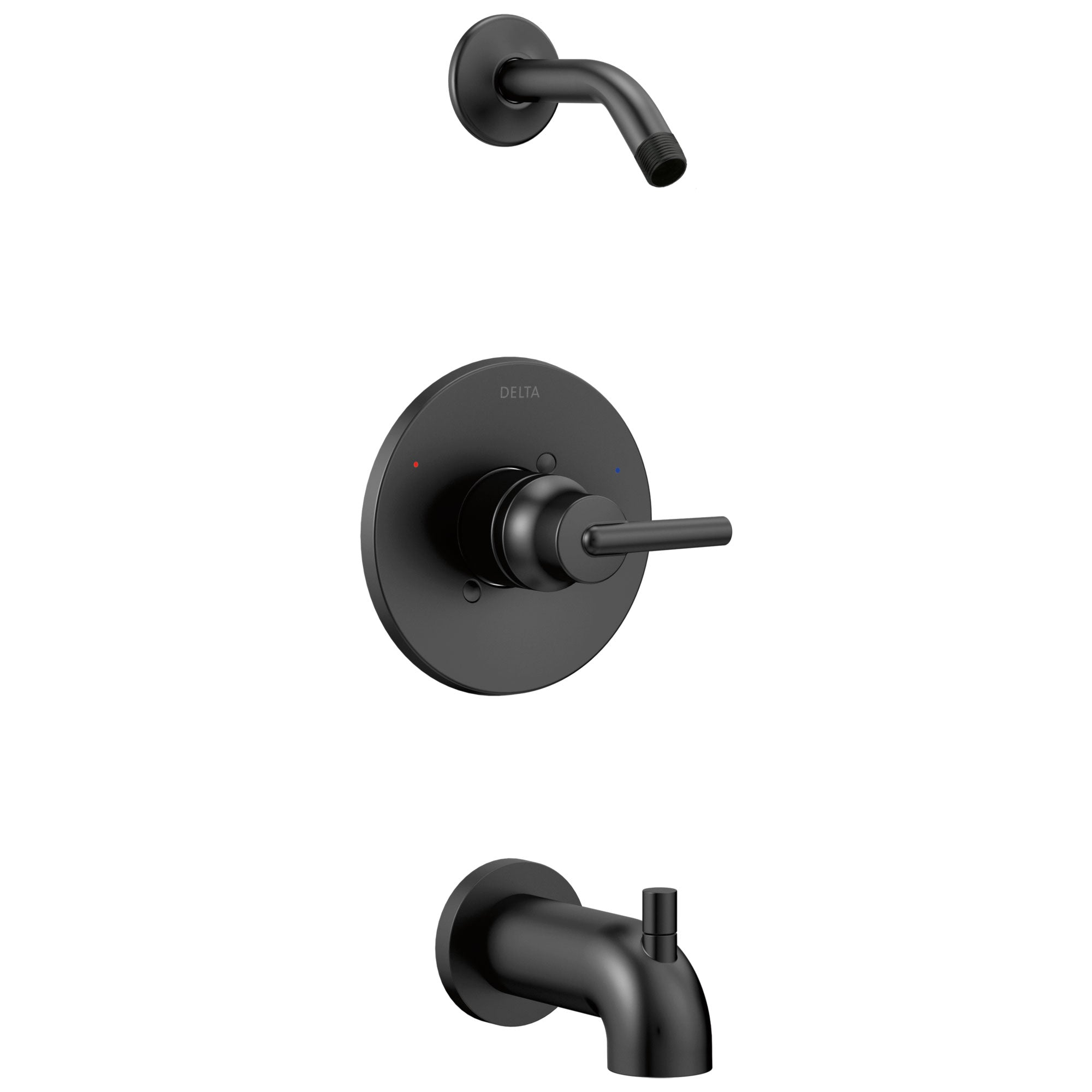 Delta Trinsic Collection Matte Black Finish Cylindrical Lever Tub and Shower Combination Faucet Trim - Less Showerhead (Requires Valve) DT14459BLLHD