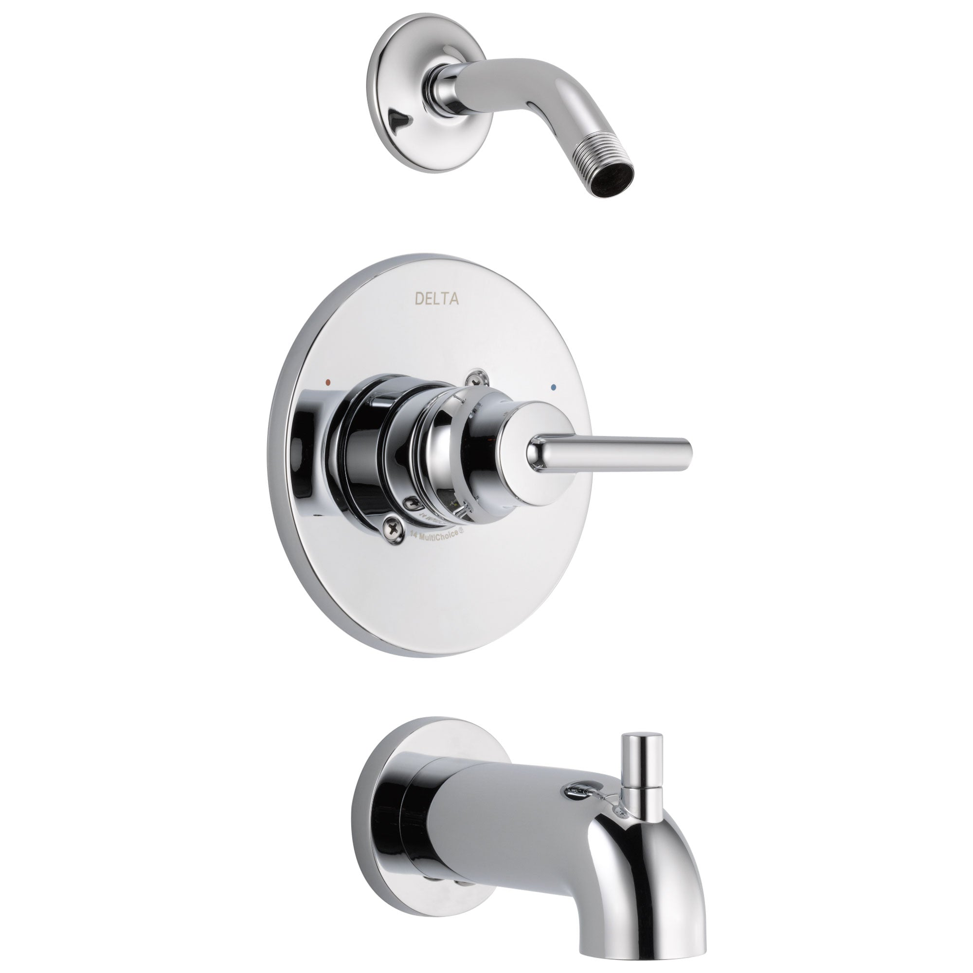 Delta Trinsic Collection Chrome Single Handle Monitor 14 Tub and Shower Combination Faucet Trim Kit - Less Showerhead Includes Valve with Stops D1997V
