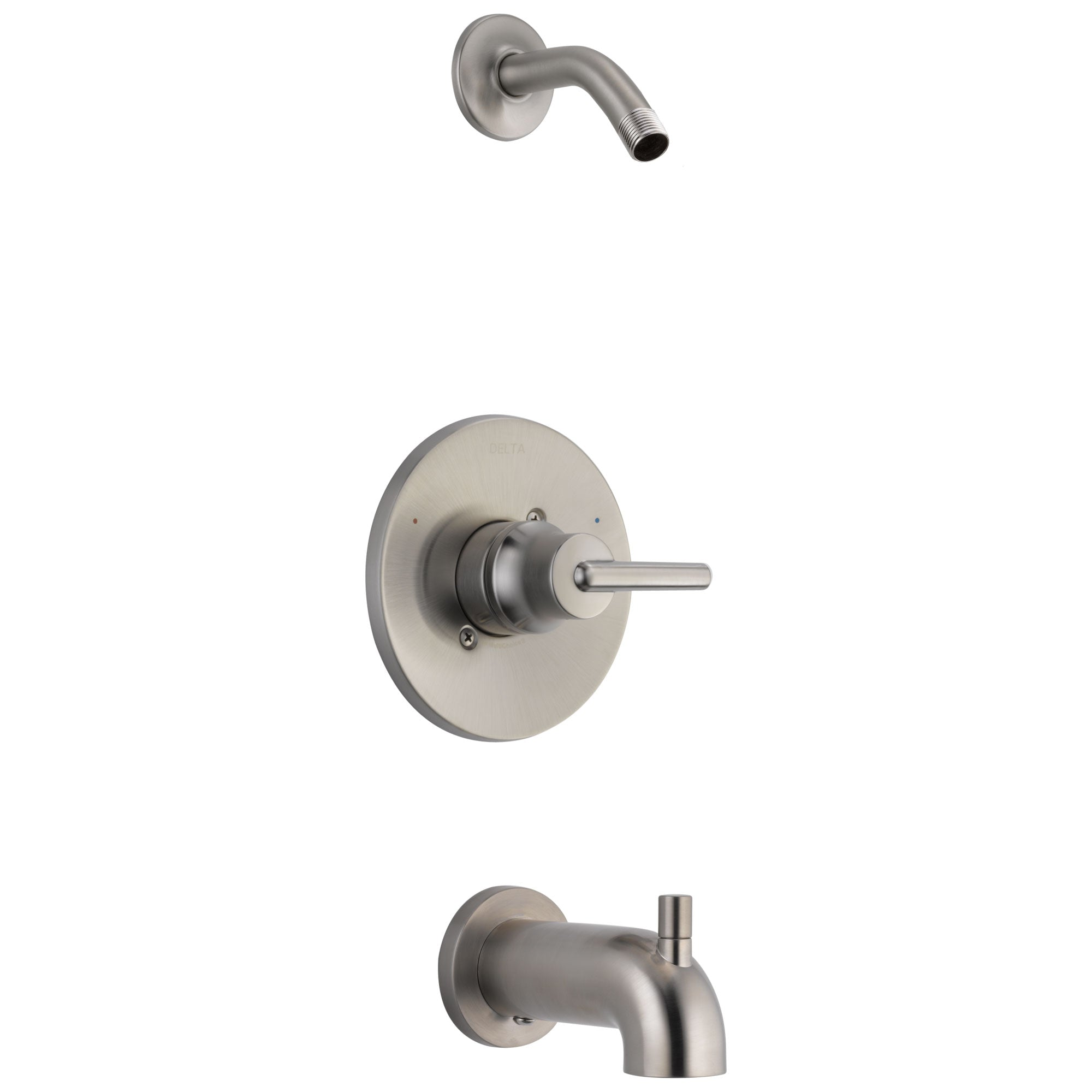 Delta Trinsic Collection Stainless Steel Finish Modern Lever Tub and Shower Combination Faucet Trim - Less Showerhead Includes Valve without Stops D2395V