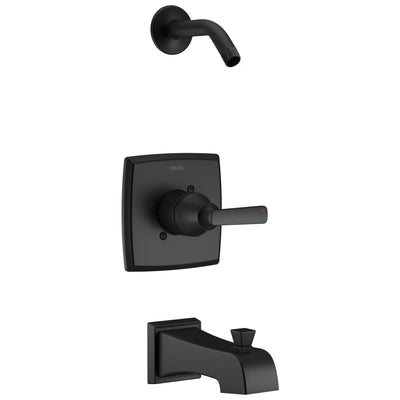 Delta Ashlyn Matte Black Finish Monitor Tub and Shower Combination Less Showerhead Includes Single Handle, Cartridge, and Valve without Stops D3445V