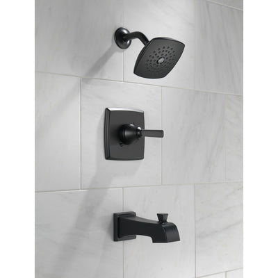 Delta Ashlyn Matte Black Finish Monitor 14 Series Tub and Shower Combination Includes Single Lever Handle, Cartridge, and Valve without Stops D3447V