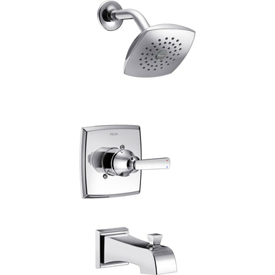 Delta Ashlyn Modern Chrome Finish 14 Series Watersense Single Handle Tub and Shower Combination Faucet INCLUDES Rough-in Valve with Stops D1175V