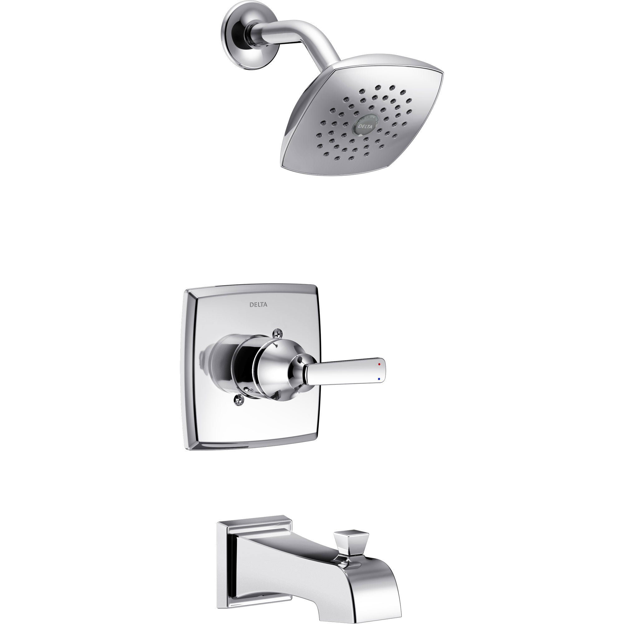 Delta Ashlyn Modern Chrome Finish 14 Series Watersense Single Handle Tub and Shower Combination Faucet INCLUDES Rough-in Valve D1174V