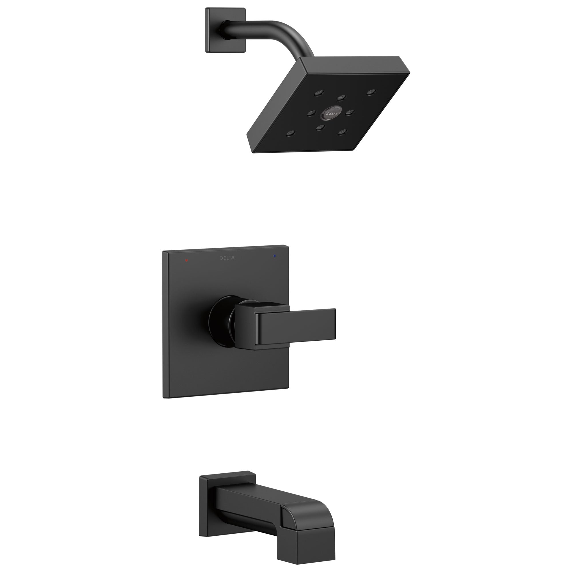 Delta Ara Collection Matte Black Finish Monitor 14 Watersense Modern Square Lever Handle Tub and Shower Combo Faucet Includes Valve with Stops D2384V