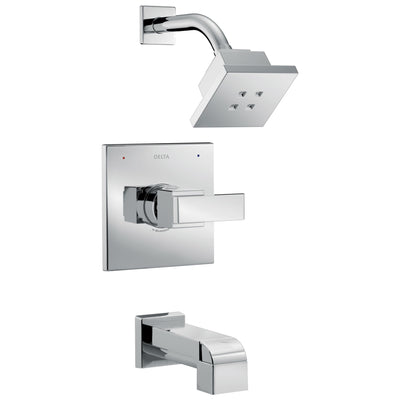 Delta Ara Collection Chrome Monitor 14 H2Okinetic Watersense Showerhead Faucet, Control, and Tub Spout Includes Trim Kit Rough Valve with Stops D2382V