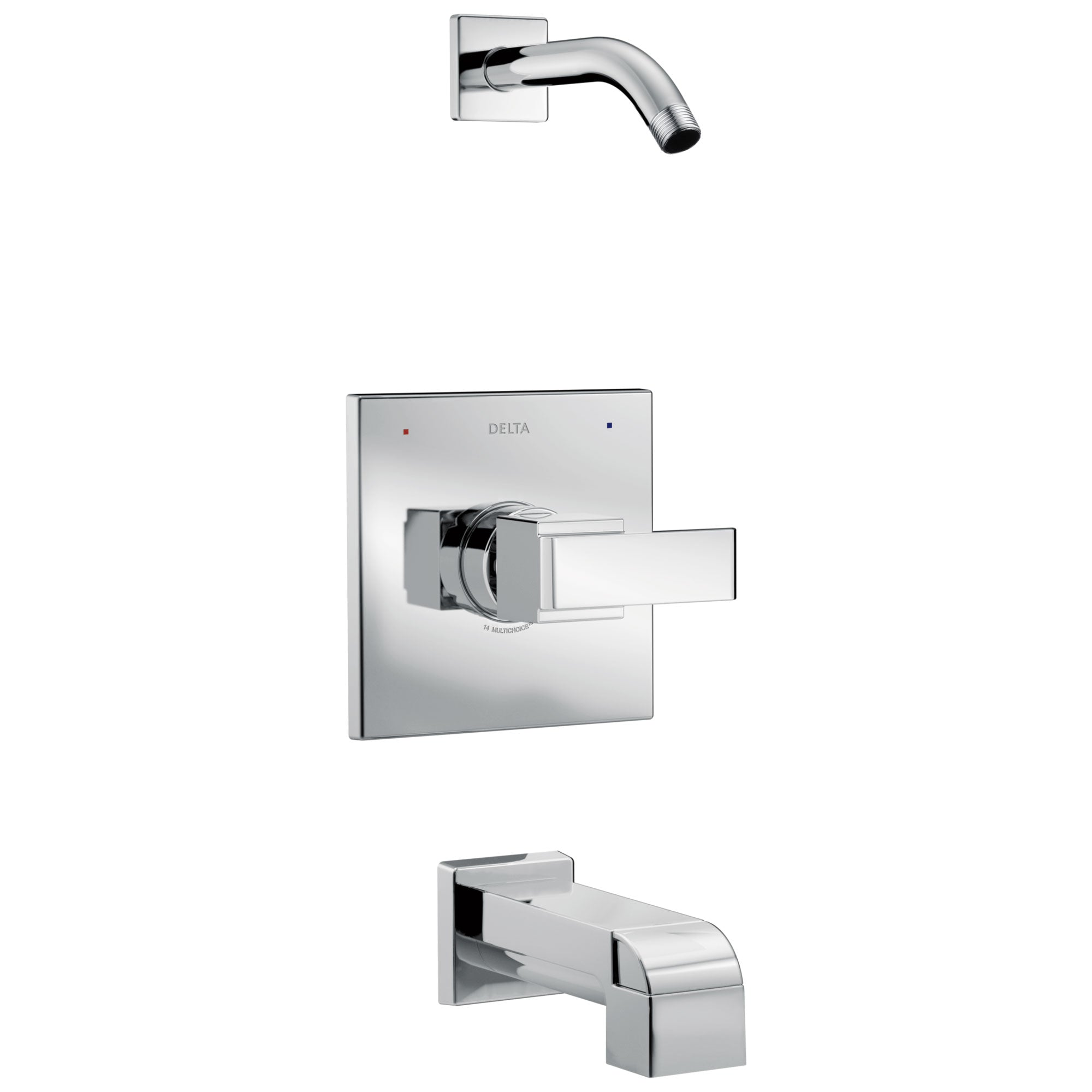 Delta Ara Collection Chrome Monitor 14 Series Modern Square Tub and Shower Combination Faucet - Less Showerhead Includes Trim Kit Rough Valve without Stops D2379V