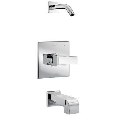 Delta Ara Collection Chrome Monitor 14 Series Modern Square Tub and Shower Combination Faucet - Less Showerhead Includes Trim Kit Rough Valve with Stops D2380V