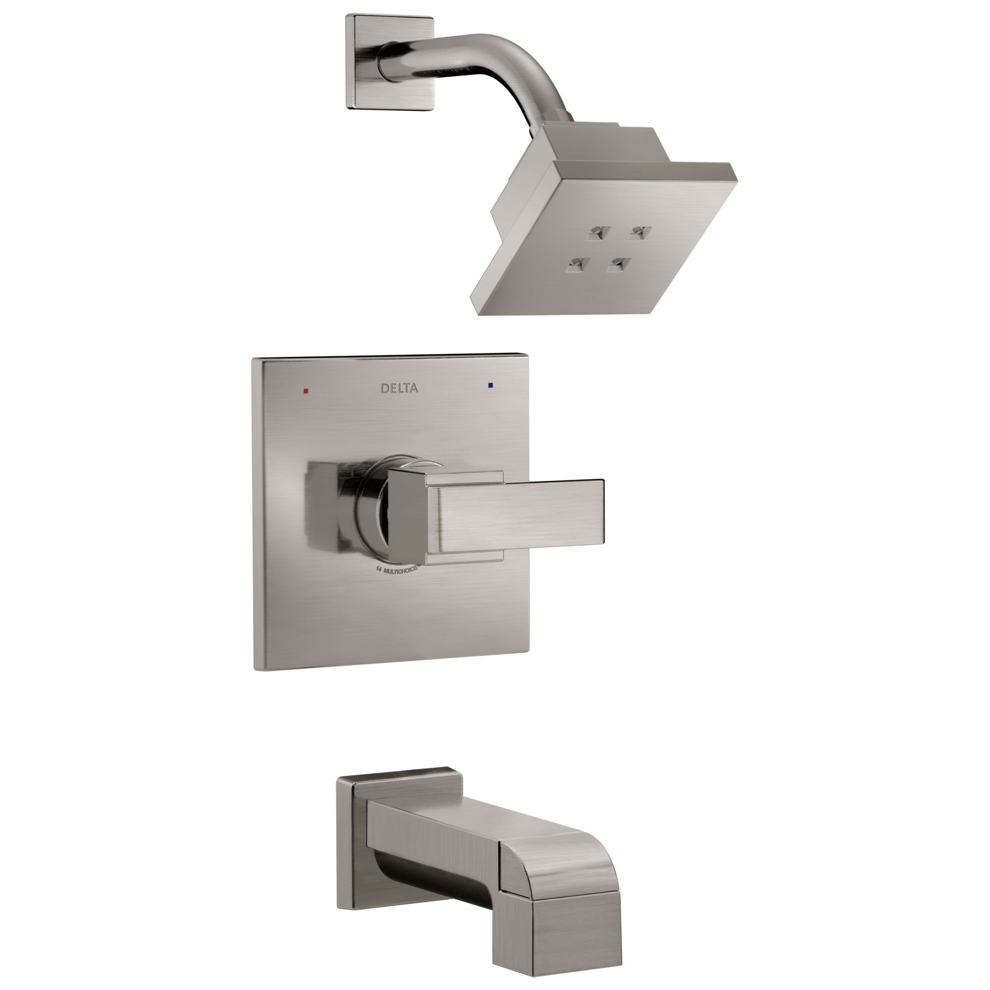 Delta Ara Collection Stainless Steel Finish Modern 1 Handle Monitor 14 Square Tub and Shower Faucet Combo Includes Valve without Stops D1992V