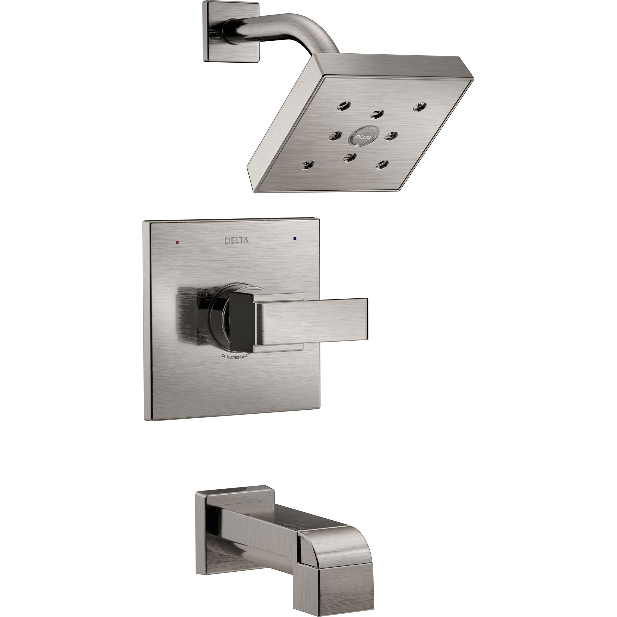 Delta Ara Modern Square Stainless Steel Finish 14 Series H2Okinetic Single Handle Tub and Shower Combination Faucet INCLUDES Rough-in Valve D1168V