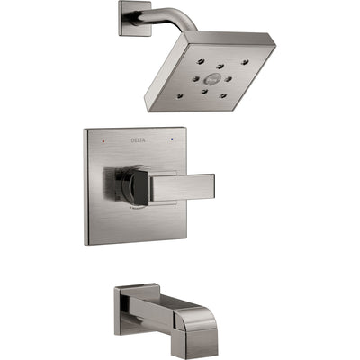 Delta Ara Modern Square Stainless Steel Finish 14 Series H2Okinetic Single Handle Tub and Shower Combination Faucet INCLUDES Rough-in Valve with Stops D1169V