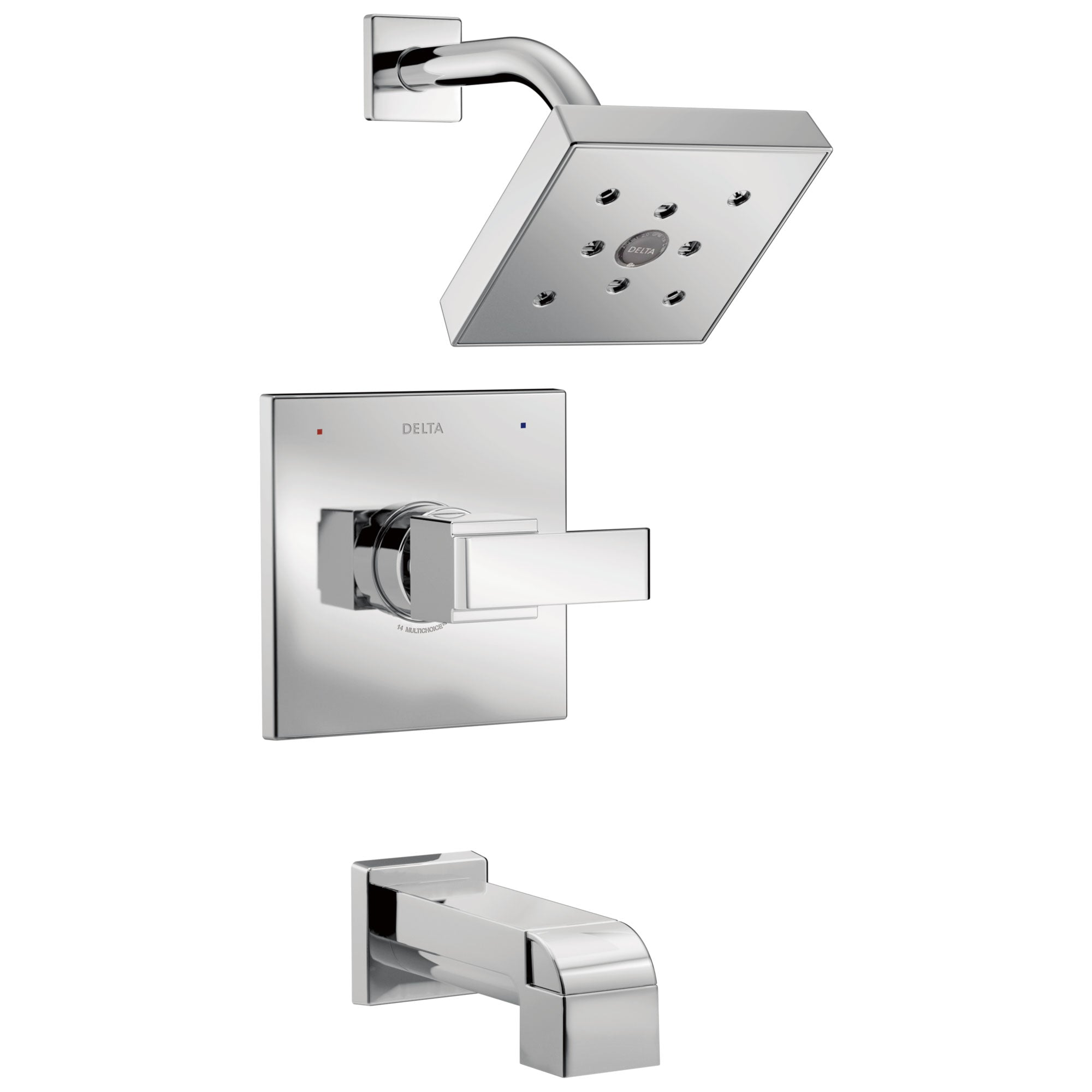 Delta Ara Collection Chrome Monitor 14 H2Okinetic Watersense Modern Square Lever Handle Tub and Shower Combo Faucet Trim Kit (Requires Valve) DT14467