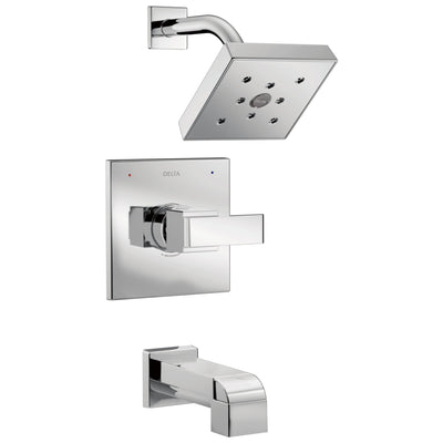 Delta Ara Collection Chrome Monitor 14 H2Okinetic Watersense Modern Square Lever Handle Tub & Shower Combo Faucet Includes Valve without Stops D2385V