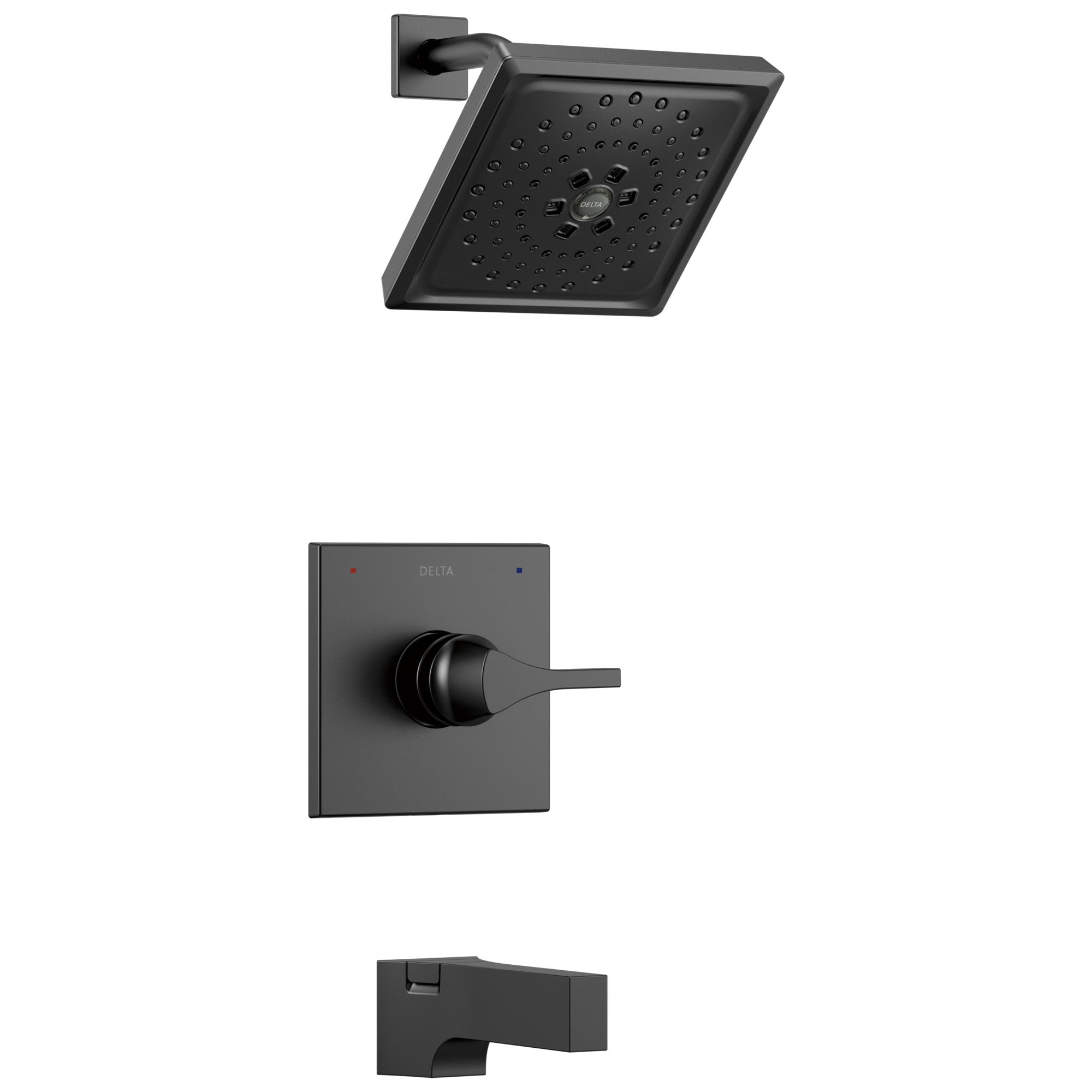Delta Zura Matte Black Finish 14 Series H2Okinetic Tub and Shower Combination Faucet Includes Cartridge, Handle, and Valve with Stops D3637V