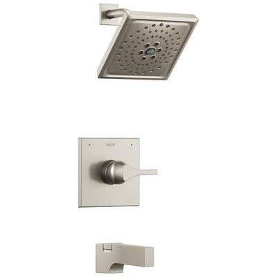 Delta Zura Collection Stainless Steel Finish Modern Square Monitor 14 One Handle Tub and Shower Combo Faucet Includes Valve with Stops D1985V