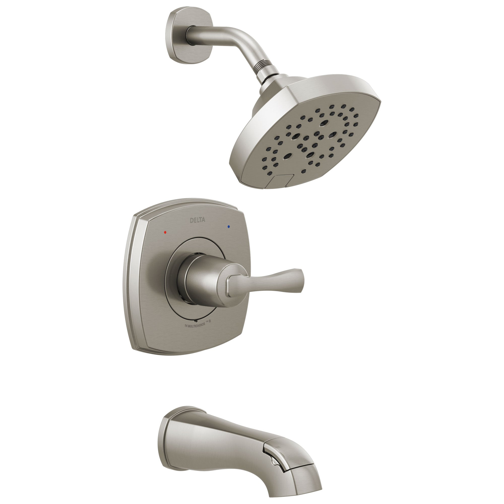 Delta Stryke Stainless Steel Finish 14 Series Tub & Shower Combination Faucet Includes Single Lever Handle, Cartridge, and Valve without Stops D3427V