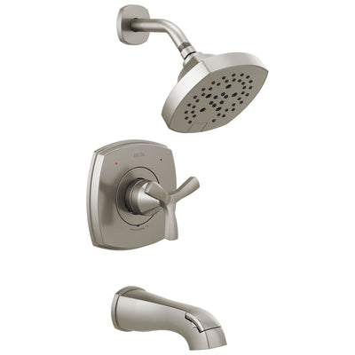 Delta Stryke Stainless Steel Finish 14 Series Tub and Shower Combination Faucet Includes Helo Cross Handle, Cartridge, and Valve with Stops D3436V