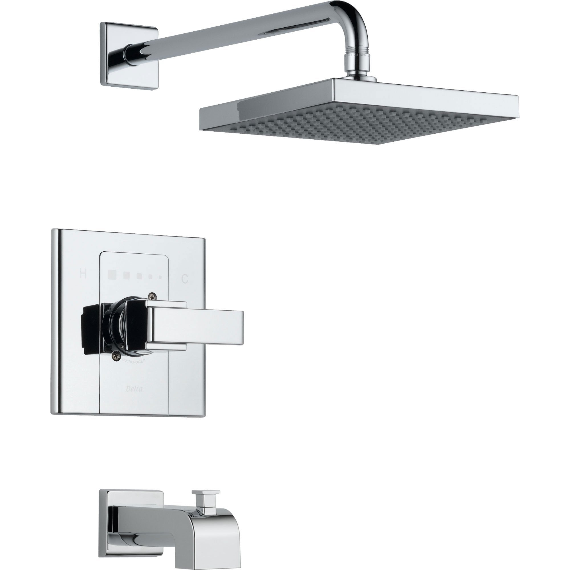 Delta Arzo 1-Handle Tub and Large Shower Faucet with Valve in Chrome D335V