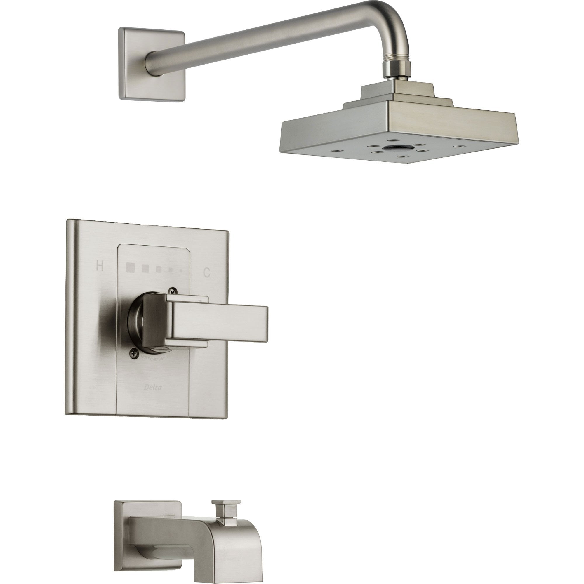 Delta Arzo Stainless Steel Finish Tub and Large Shower Faucet with Valve D336V