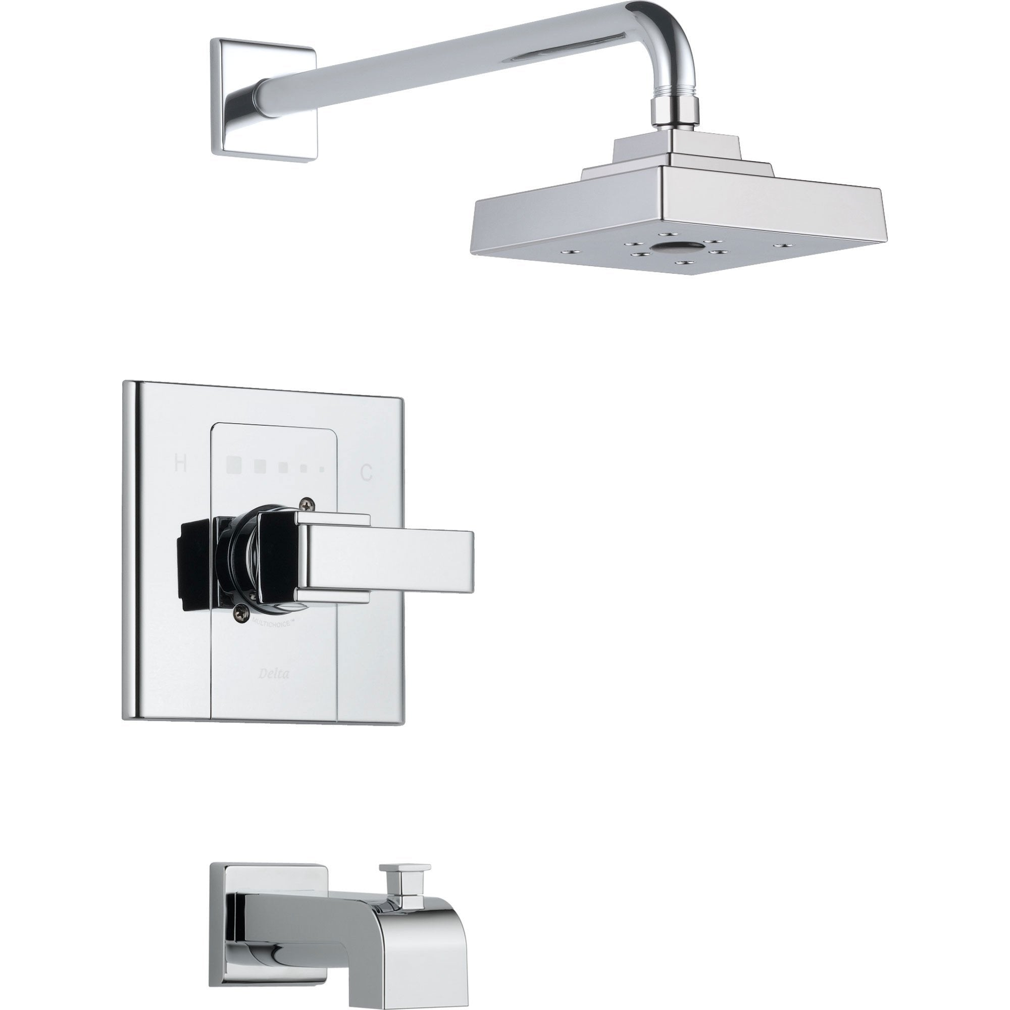 Delta Arzo 1-Handle Tub and Large Shower Faucet with Valve in Chrome D334V