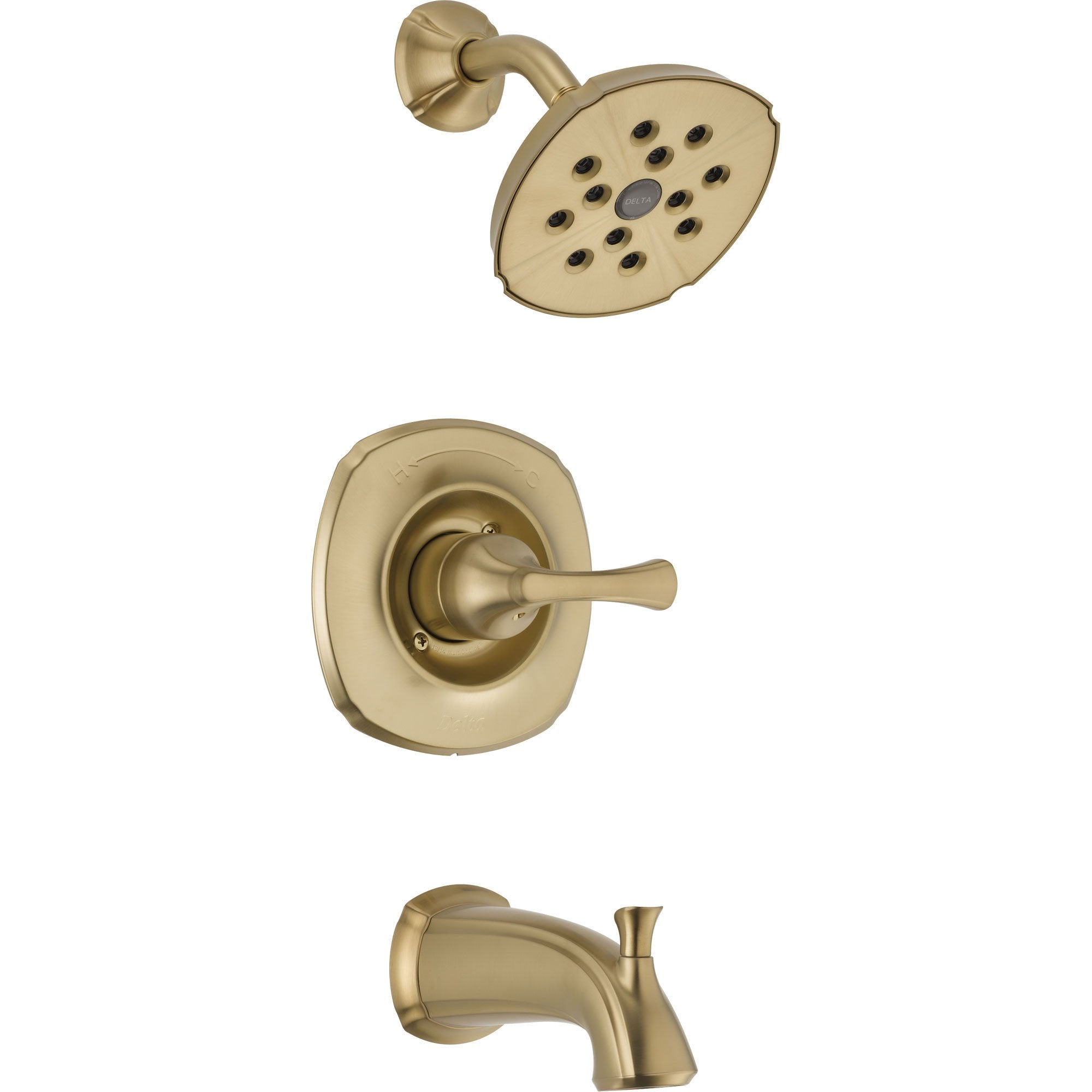 Delta Addison Wall Mount Champagne Bronze Tub and Shower Faucet with Valve D272V