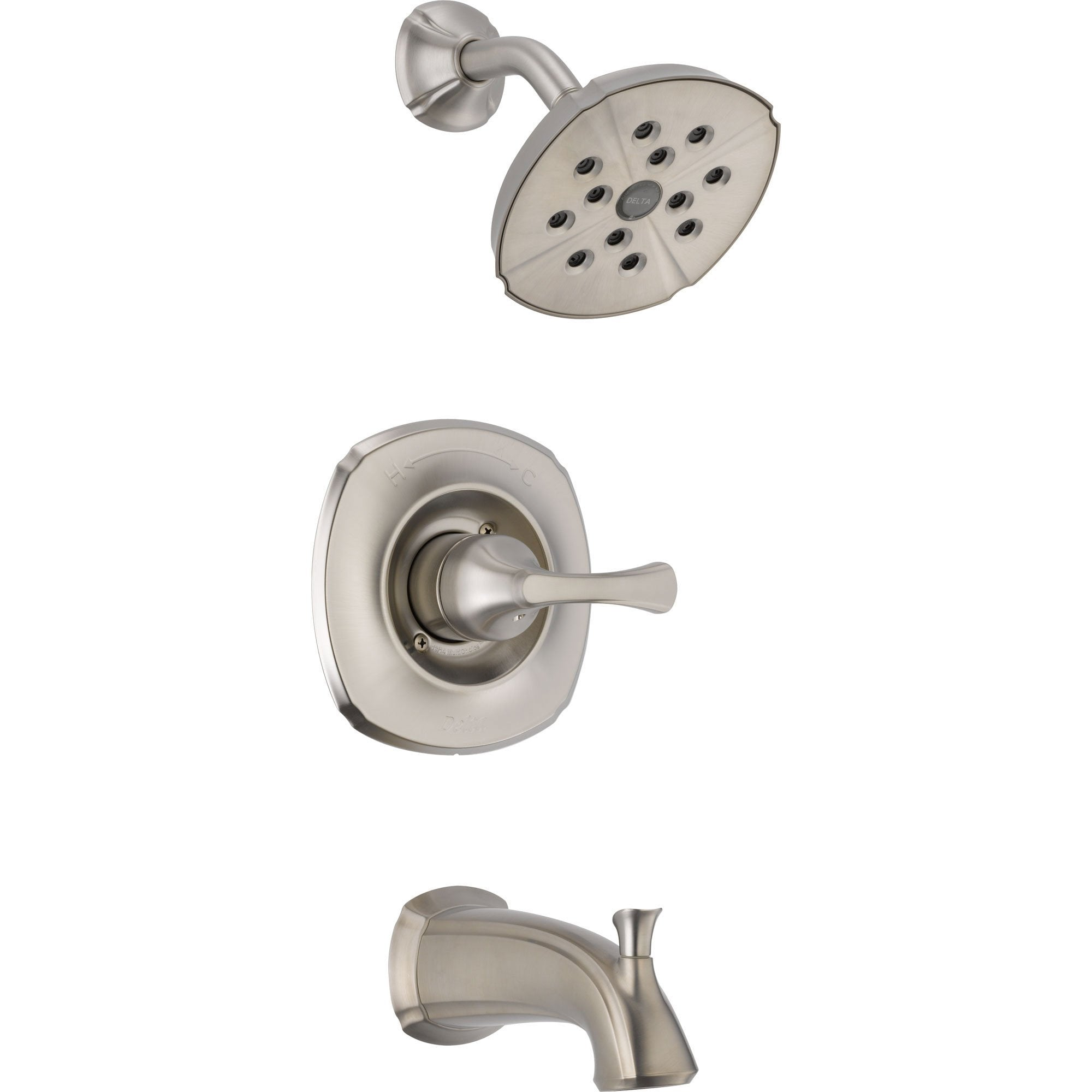 Delta Addison Stainless Steel Finish Tub and Shower Faucet Includes Valve D274V