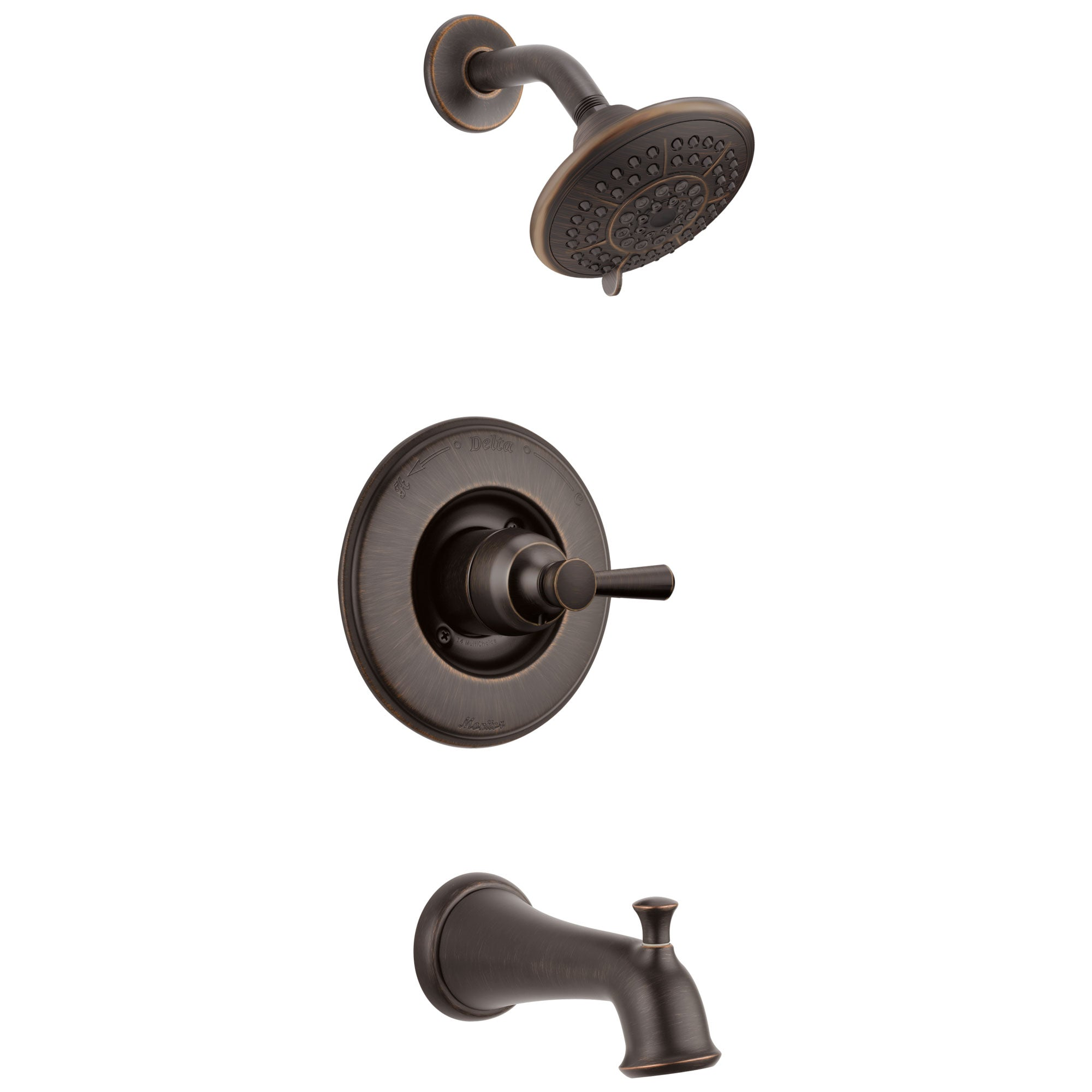 Delta Linden Collection Venetian Bronze Monitor 14 Contemporary Shower Faucet, Control, and Tub Spout Includes Trim Kit Rough Valve without Stops D2371V