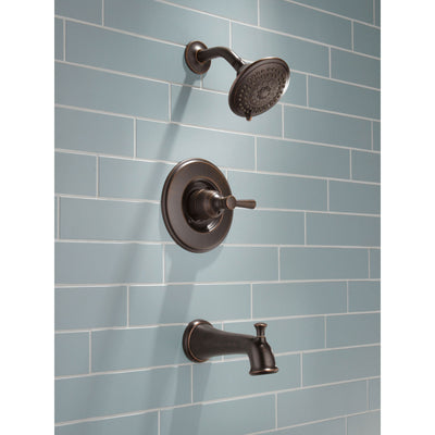 Delta Linden Collection Venetian Bronze Monitor 14 Contemporary Shower Faucet, Control, and Tub Spout Includes Trim Kit Rough Valve with Stops D2372V