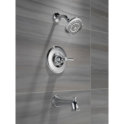 Delta Linden Collection Chrome Finish Monitor 14 Series Contemporary Shower Faucet, Control, and Tub Spout Includes Trim Kit Rough Valve with Stops D2374V