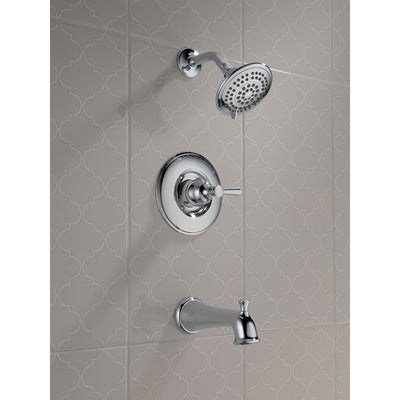 Delta Linden Collection Chrome Finish Monitor 14 Series Contemporary Shower Faucet, Control, and Tub Spout Trim Kit (Requires Rough-in Valve) DT14493