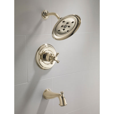 Delta Cassidy Collection Polished Nickel Monitor 14 Tub and Shower Faucet Combination INCLUDES Single Cross Handle and Rough-Valve without Stops D1476V