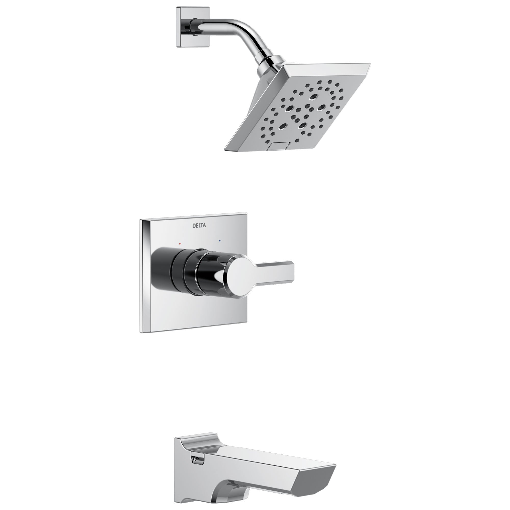 Delta Pivotal Chrome Finish Monitor 14 Series H2Okinetic Tub and Shower Combination Faucet Trim Kit (Requires Valve) DT14499