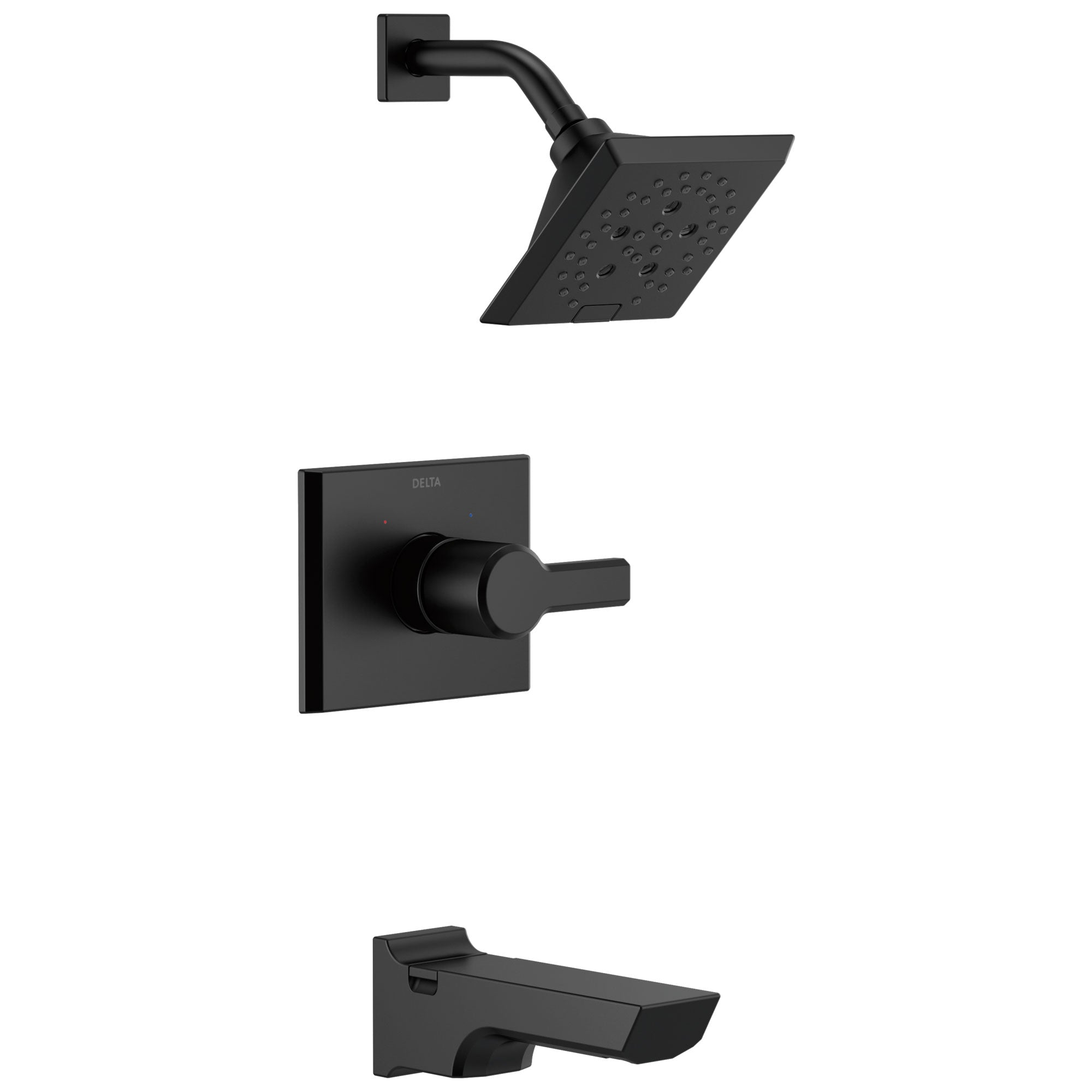 Delta Pivotal Matte Black Finish Tub and Shower Combination Faucet Includes Monitor 14 Series Cartridge, Handle, and Valve without Stops D3421V