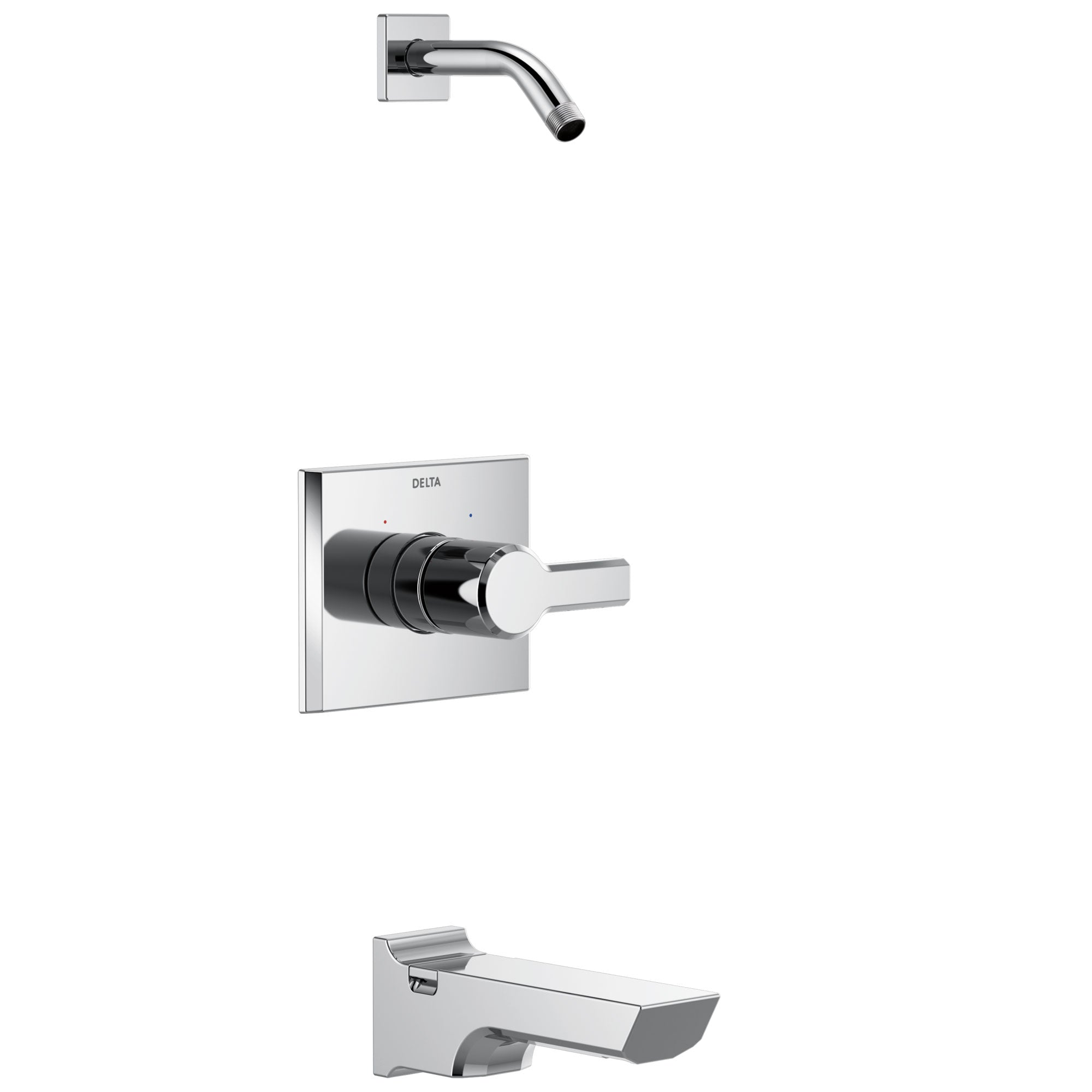 Delta Pivotal Chrome Finish 14 Series Tub and Shower Faucet Combo Less showerhead Includes Handle, Cartridge, and Valve without Stops D3419V