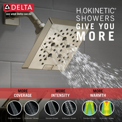 Delta Pivotal Polished Nickel Finish Tub and Shower Combination Faucet Includes Monitor 14 Series Cartridge, Handle, and Valve with Stops D3418V