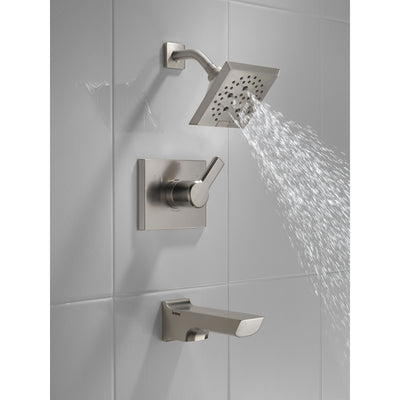 Delta Pivotal Stainless Steel Finish Tub and Shower Combination Faucet Includes Monitor 14 Series Cartridge, Handle, and Valve without Stops D3415V