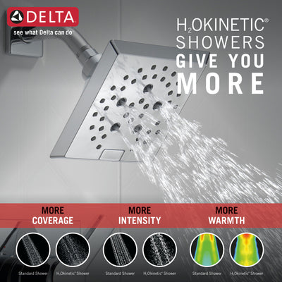 Delta Pivotal Chrome Finish Tub and Shower Combination Faucet Includes Monitor 14 Series Cartridge, Handle, and Valve without Stops D3423V
