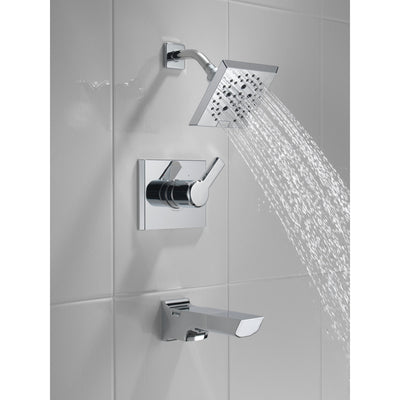 Delta Pivotal Chrome Finish Tub and Shower Combination Faucet Includes Monitor 14 Series Cartridge, Handle, and Valve with Stops D3424V