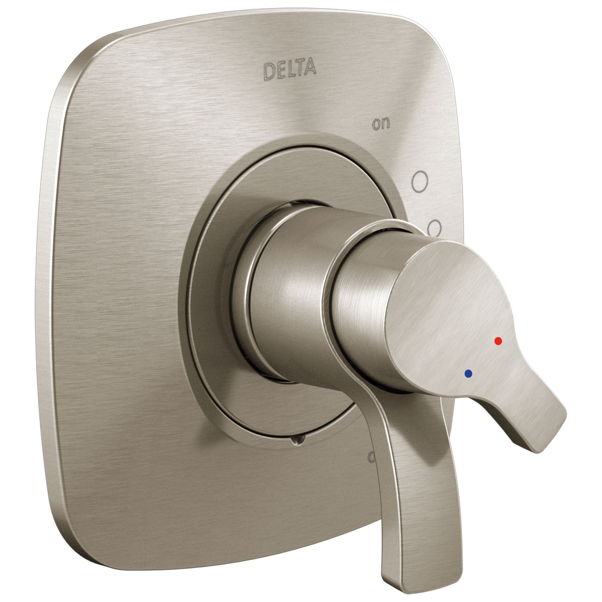 Delta Tesla Stainless Steel Finish Monitor 17 Dual Temperature and Water Pressure Shower Faucet Control Handle Includes Trim Kit and Valve without Stops D1978V